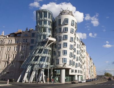 Fig. 1 The Rašin Building, Prague, known as the Dancing House, designed by V. Milunić and F. Gehry (completed 1996) – challenging classical symmetry and modernist order yet demanding absolute confidence in the conventional solidity of its building materials. Image by © Paul Seheult/Eye Ubiquitous/Corbis