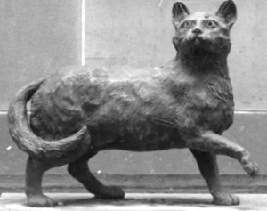 Fig. 1 John Cornwell's bronze statue of Trim, the feisty black cat who sailed in the circumnavigation of Australia in 1801/3: located outside Mitchell Library, 173 Macquarie St, Sydney, Australia.